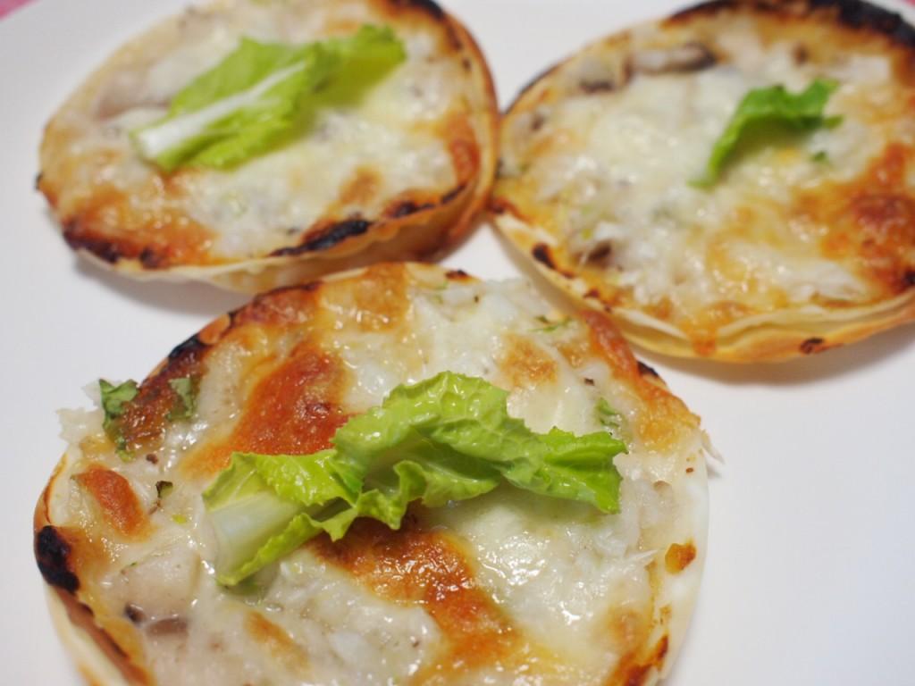 雪菜ときのこの和風ミニピザ