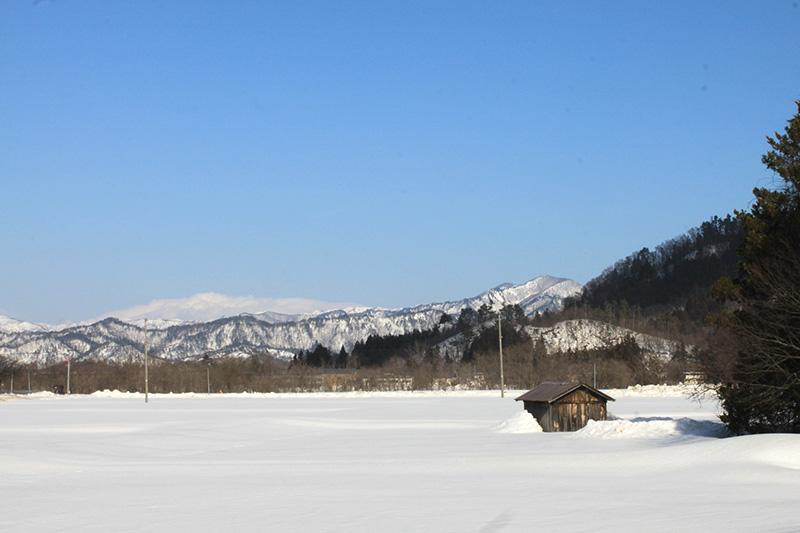 晴れ上がった日の青空と白い雪
